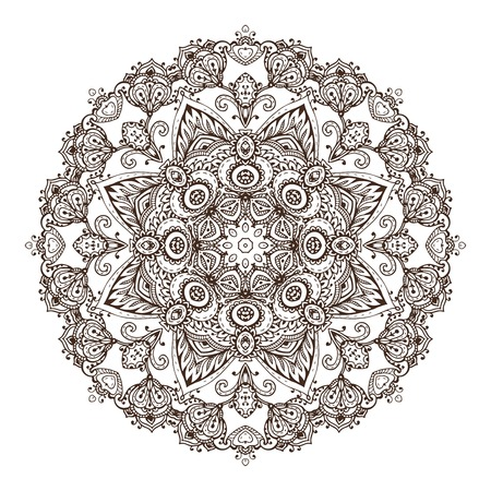 Vector mandala pattern of henna floral elements based on traditional Asian ornaments.