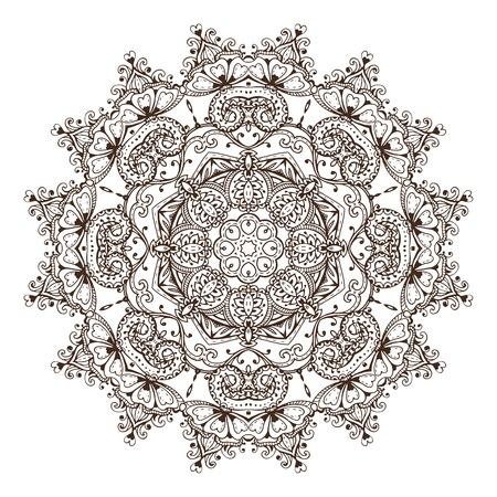 Vector mandala pattern of henna floral elements illustration.