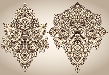Set of henna floral vector elements.