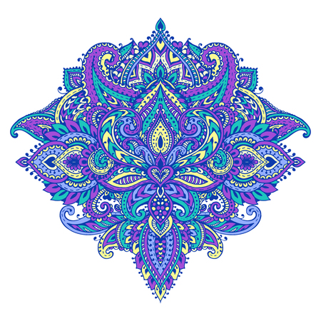 Vector pattern of henna floral elements based on traditional Asian ornaments. Paisley Mehndi Tattoo Doodle illustration in bright colors Illustration