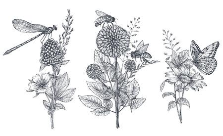 Set di tre mazzi floreali vettoriali con erbe, fiori di campo e insetti disegnati a mano in bianco e nero