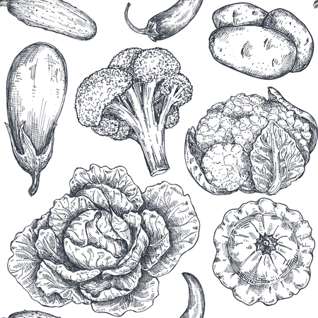 Vector seamless pattern with hand drawn vegetables in sketch style. Farm market products. Beetroot, cabbage, broccoli, cauliflower, lettuce, chinese cabbage. Detailed vegetarian food drawing. Vektoros illusztráció