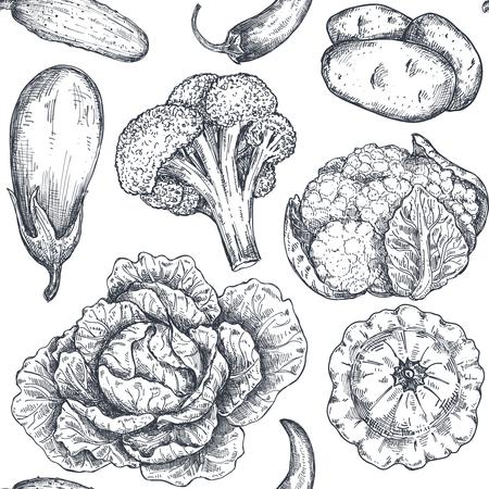 Vektor nahtloses Muster mit handgezeichnetem Gemüse im Skizzenstil. Produkte für den landwirtschaftlichen Markt. Rote Beete, Kohl, Brokkoli, Blumenkohl, Salat, Chinakohl. Detaillierte Zeichnung des vegetarischen Essens. Vektorgrafik