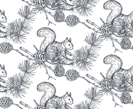 Vector seamless pattern with hand drawn forest animals, squirrels and pine branches and cones on white background. Vector illustration art. Design for fabrics, paper, textiles, fashion.
