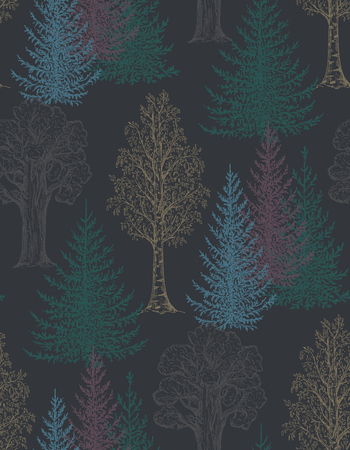 Vector seamless pattern with hand drawn trees in sketch style. Fir, birch, oak. forest endless background. Ink pen drawing. 일러스트