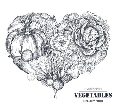 Vector illustration of hand drawn vector farm vegetables in heart form.