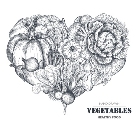 Vector illustration of hand drawn vector farm vegetables in heart form. Stock Vector - 108318825