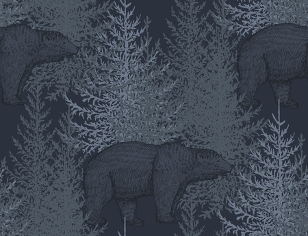 Vector seamless pattern with hand drawn bears and trees. Fir forest illustration in sketch style.