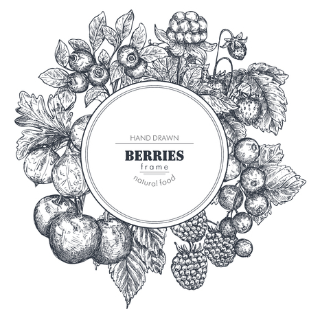 Frame with hand drawn vector berries in sketch style.