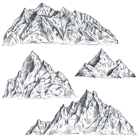 Vector set of hand drawn graphic mountain ranges. Nature landscape. Black and white outdoor camping background.