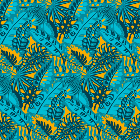 Beautiful seamless pattern with ropical jungle palm leaves. Colorful nature floral endless background