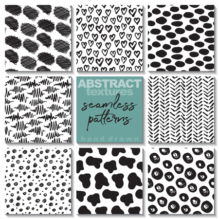 Set of eight hand drawn ink seamless patterns. Endless vector backgrounds of simple primitive scratchy textures with dots, stripes, waves.