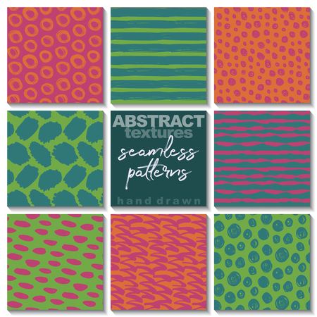 Set of eight hand drawn abstract seamless patterns. Endless colorful vector backgrounds of simple primitive scratchy textures with dots, stripes, waves.  イラスト・ベクター素材