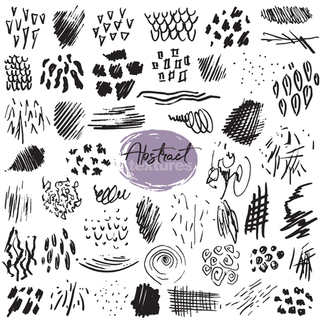Set of hand drawn design elements. Vector collection of black ink abstract textures.