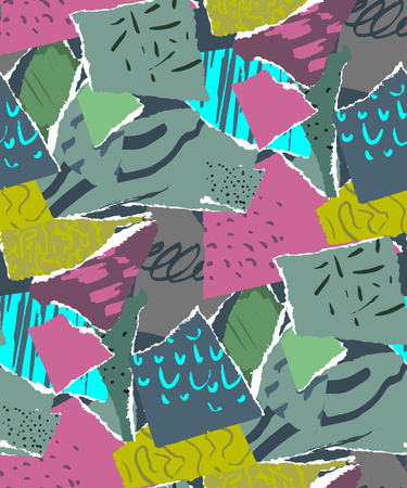 Vector seamless pattern. Pieces of torn paper with abstract texture for collage.