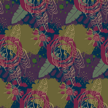 Beautiful seamless pattern with ropical jungle palm leaves and abstract texture in collage style. Colorful nature floral endless background