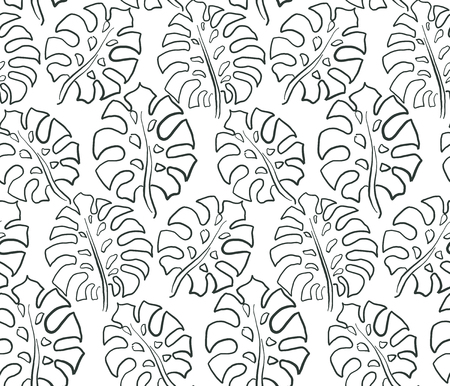Beautiful seamless pattern with ropical jungle palm, monstera leaves. Black and white nature floral endless background