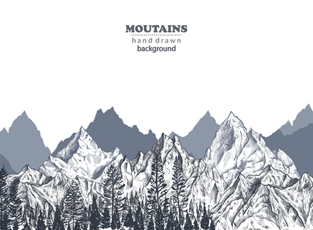 Vector background with hand drawn graphic mountain ranges