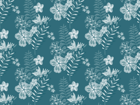 Beautiful seamless pattern with ropical jungle palm leaves, exotic flowers. Monochrome nature floral endless background