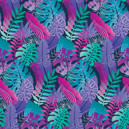 Beautiful seamless pattern with ropical jungle palm, monstera leaves. Colorful nature floral endless background