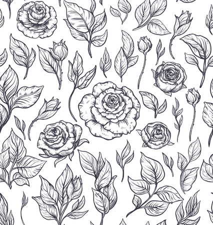 Seamless pattern with graphic rose flowers, vector floral endless background in vintage style