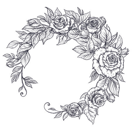 Elegant hand drawn graphic bouquet with rose flowers and leaves. Beautiful vector illustration.