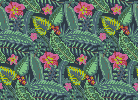 Beautiful seamless pattern with ropical jungle palm leaves, exotic flowers. Colorful nature floral endless background  イラスト・ベクター素材