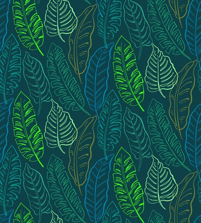 Beautiful seamless pattern with ropical jungle palm, banana leaves. Colorful nature floral endless background