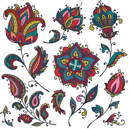 Vector set of colorful henna floral elements based on traditional Asian ornaments. Paisley Mehndi Tattoo Doodles collection.  イラスト・ベクター素材