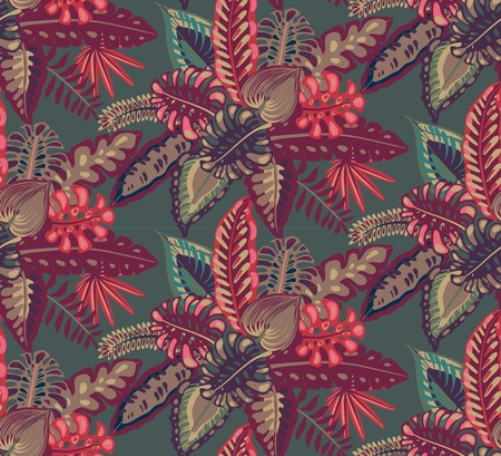 Beautiful seamless pattern with ropical jungle palm, monstera, banana leaves. Colorful nature floral endless background