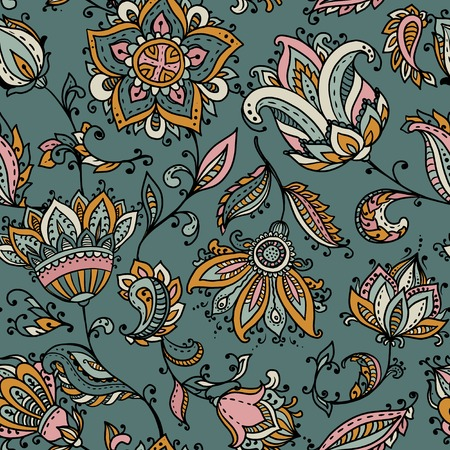 Vector seamless pattern with hand drawn paisley floral elements. Beautiful colorful endless background in oriental indian style in bright colors