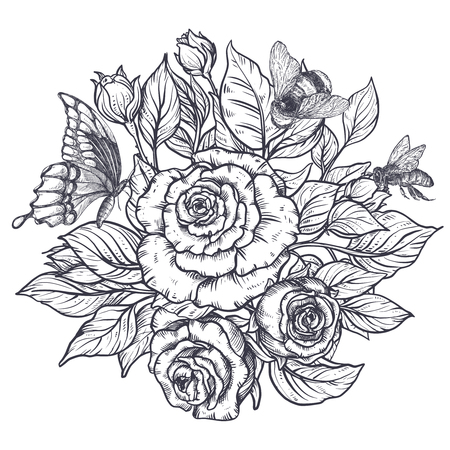 Elegant hand drawn graphic bouquet with rose flowers and leaves, bee and butterfly. Beautiful vector illustration. Vettoriali