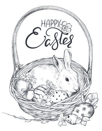 Vector illustration of hand drawn rabbit in the basket with ornate eggs and spring flowers.