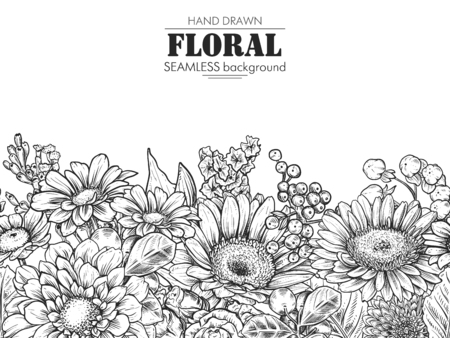 Floral composition. Bouquet with hand drawn flowers and plants. Monochrome vector illustration in sketch style. Chamomile, chrysanthemum, gerbera Ilustração
