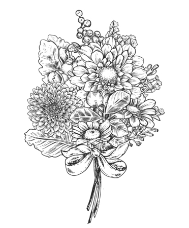 Floral composition. Bouquet with hand drawn flowers and plants.