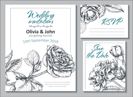 Collection of vector templates for wedding cards and invitation with hand drawn rose flowers.  イラスト・ベクター素材