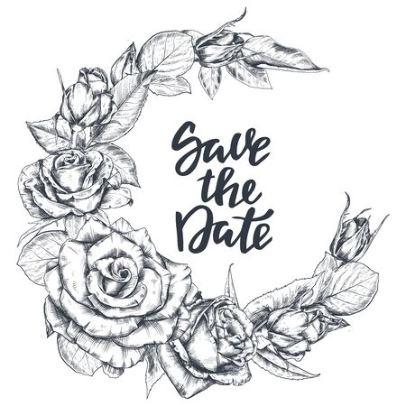 Vector template for Save the Day card with hand drawn rose flowers