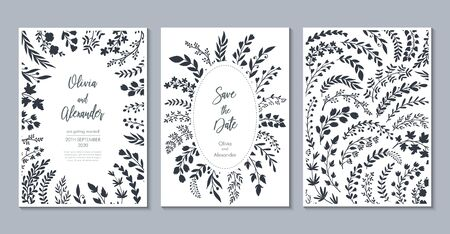 Vector wedding collection. Templates for invitation, save the date card. Banque d'images - 131296188