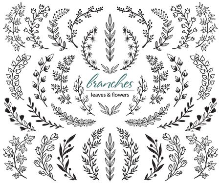 Big set of hand drawn vector plants and branches with leaves, flowers, berries. Floral sketch collection. Decorative elements for design. Ink, vintage, rustic.