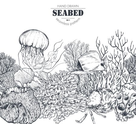 Vector monochrome seamless coral reef pattern with tropical fish, crab, jellyfish