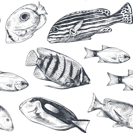 Vector monochrome seamless sea pattern with tropical fish. Underwater world.