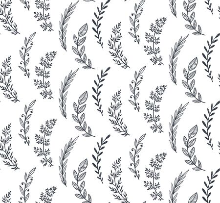 Seamless pattern with hand drawn leaves and branches. Vector endless natural background.  イラスト・ベクター素材