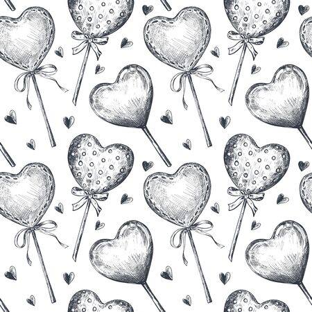 Seamless pattern with hand drawn vintage valentine and wedding day elements in sketch style