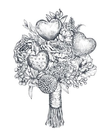 Vector illustration of hand drawn vintage valentine and wedding day bouquet in sketch style - flowers, hearts, plants, ribbon. Holiday composition on white background