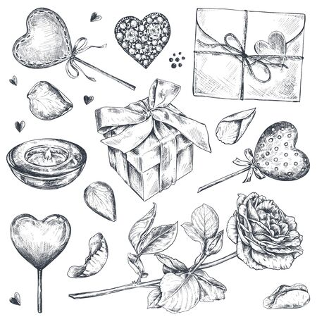 Vector collection of hand drawn vintage valentine and wedding day elements in sketch style. Heart, gift, rose flowers, candle, envelope isolated on white background  イラスト・ベクター素材