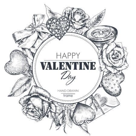 Vector frame with beautiful hand drawn flowers and holiday simbols heart, gift in graphic style. Template for Valentine Day greeting card  イラスト・ベクター素材