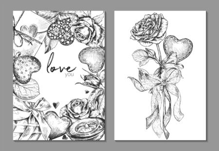 Set of two banners with beautiful hand drawn floral frame and bouquet with heart, gift, letter in graphic style. Vector floral headers. Template for Valentine Day greeting card