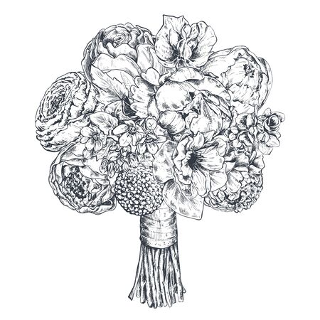 Floral composition. Bradal bouquet with beautiful hand drawn flowers, plants, ribbon. Monochrome vector illustration in sketch style for wedding romantic design