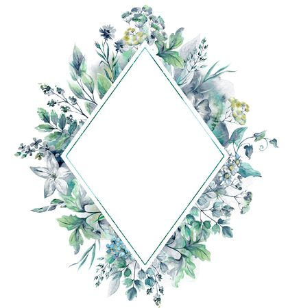 Beautiful rhombus frame with hand drawn watercolor herbs and wildflowers. Template for greeting card, invitation