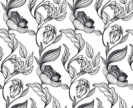 Vector floral seamless pattern. Romantic elegant endless background with hand drawn doodle flowers. Vektorgrafik